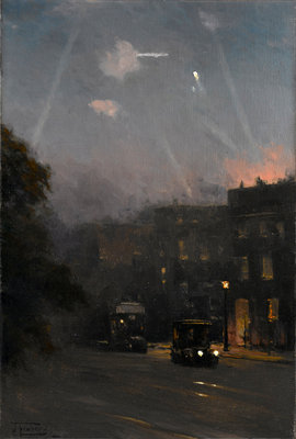 A Zeppelin raid, 8 October 1915 by John Fraser - print