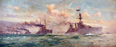 HMS 'Cardiff ' leading the German High Seas Fleet to surrender in the Firth of Forth, 21 November 1918 by Charles Dixon - print