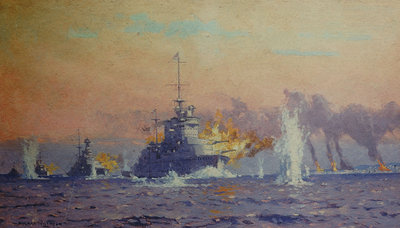 Bombardment of Genoa, 9 February 1941 by Norman Wilkinson - print