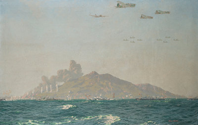 Bombardment of Pantellaria, Italy, 11 June 1943 by Charles Pears - print