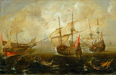 Action between English and Spanish ships Wall Art & Canvas Prints by Andries van Eertvelt