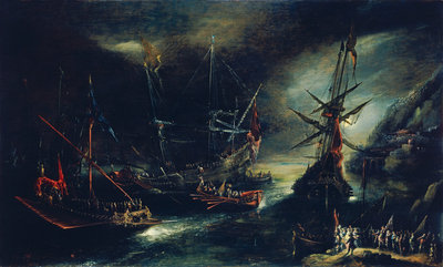 Embarkation of Spanish troops Wall Art & Canvas Prints by Andries van Eertvelt