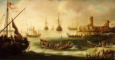 The return of a Spanish expedition Wall Art & Canvas Prints by Andries van Eertvelt