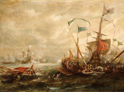 Spanish engagement with Barbary pirates Wall Art & Canvas Prints by Andries van Eertvelt