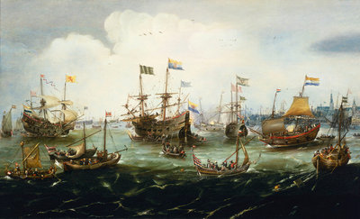 The return of the Dutch East India Fleet, 1 May 1599, the 'Hollandia', 'Mauritius', 'Amsterdam' and 'Duykfen' in harbour Wall Art & Canvas Prints by Andries van Eertvelt
