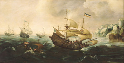 Dutch ships running down onto a rocky shore Wall Art & Canvas Prints by Andries van Eertvelt