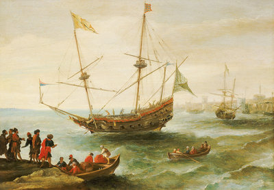 An Algerine ship off a barbary port Wall Art & Canvas Prints by Andries van Eertvelt