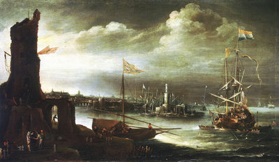 A Dutch ship at anchor off Genoa Wall Art & Canvas Prints by Andries van Eertvelt