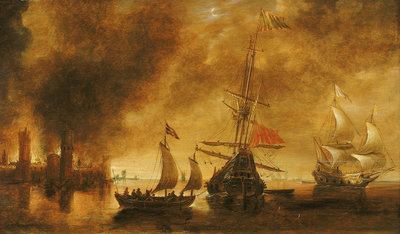 Daybreak after the bombardment of a port by Spanish ships Wall Art & Canvas Prints by Andries van Eertvelt