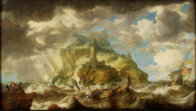 A dismasted ship in a rough sea by Bonaventura Peeters the Elder - print