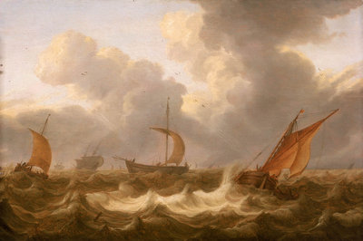 Fishing boats in a choppy sea by Cornelisz Leonardsz Stooter - print