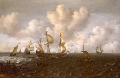 A Dutch ship before the wind by Joachim de Vries - print