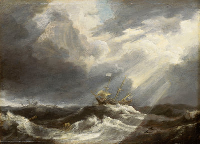 Sunlight on a stormy sea by Bonaventura Peeters the Elder - print