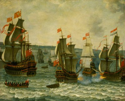 Action between ships in the First Dutch War, 1652-1654 by Abraham Willaerts - print