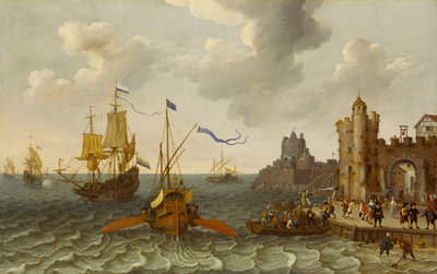 A French galley and Dutch men-of-war off a port by Abraham Willaerts - print