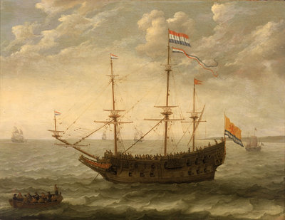 A Zeeland ship at anchor by Abraham Willaerts - print