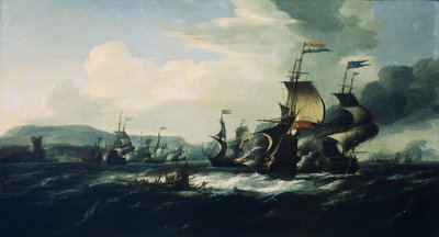 A battle between the Dutch and Barbary pirates near the coast by Hendrik van Minderhout - print