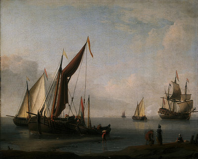 Dutch craft ashore by Willem Van de Velde the Younger - print