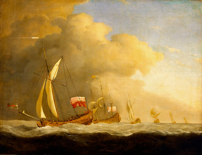 English Royal yachts at sea by Willem Van de Velde the Younger - print