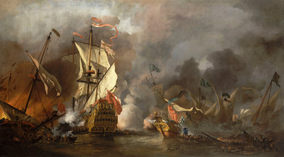 An English ship in action with Barbary pirates by Willem Van de Velde the Younger - print