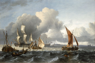 The merchant shipping anchorage in the Texel by Ludolf Bakhuizen - print