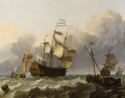 A Dutch flagship with a yacht under her stern by Ludolf Bakhuizen - print