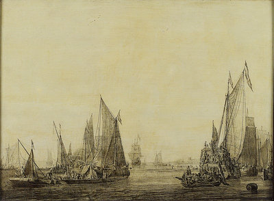 Dutch shipping in a harbour by Ludolf Bakhuizen - print