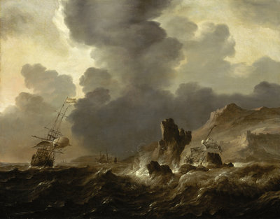 A Dutch ship wrecked on a rocky coast by Ludolf Bakhuizen - print