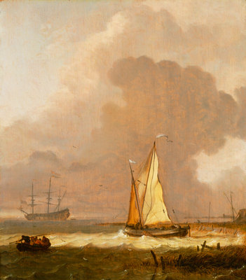 A kaag leaving the shore in stormy weather by Ludolf Bakhuizen - print