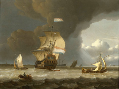 Dutch ships in the mouth of the Scheldt by Jan Claesz Rietschoof - print