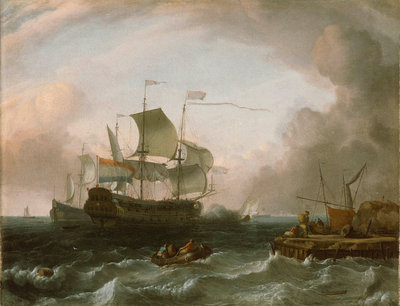 Dutch men-of-war off a jetty by Jan Claesz Rietschoof - print