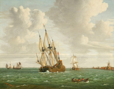 A Dutch whaler close-hauled in a breeze by Jan Claesz Rietschoof - print