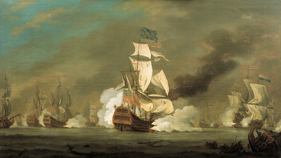 A battle between English and Dutch ships by Robert Woodcock - print
