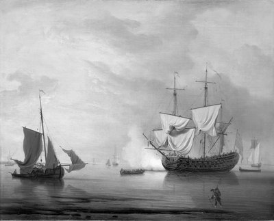 An English ship becalmed by Peter Monamy - print