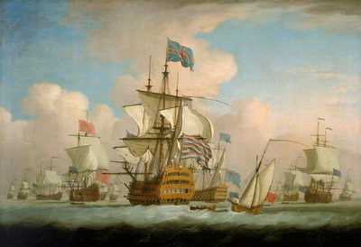 An English fleet coming to anchor by Peter Monamy - print