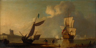 A ship saluting a fort by J. Cook - print