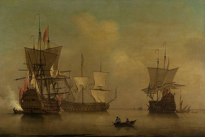 Three English flagships becalmed by Peter Monamy - print