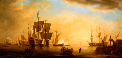 An English flagship and other vessels becalmed at sun down by Peter Monamy - print