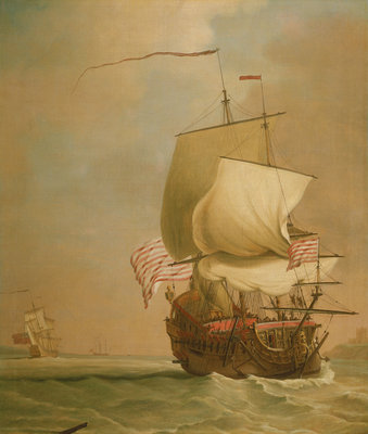 An English East Indiaman, bow view by Peter Monamy - print
