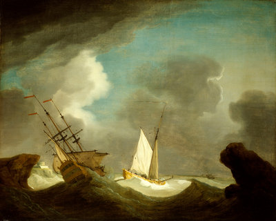 An Indiaman and a royal yacht in a storm off a rocky coast with a castle by Peter Monamy - print