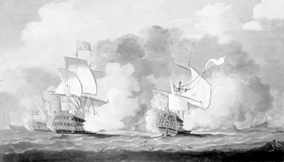 Action between English and French ships by unknown - print