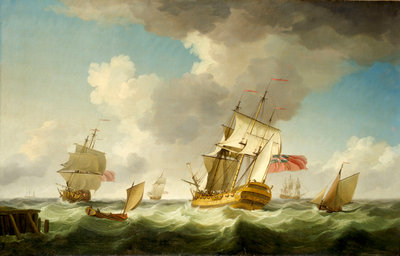 An East Indiaman in a fresh breeze by Charles Brooking - print