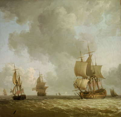 Ships in a light breeze by Charles Brooking - print
