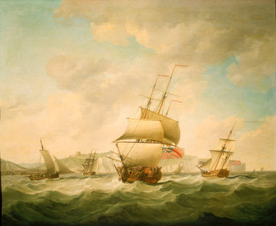 A merchantman and a royal yacht beating to qindward off Dover by Charles Brooking - print