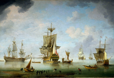 Shipping becalmed in the Solent by Charles Brooking - print