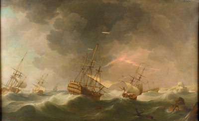 East Indiamen driven ashore in a storm by Charles Brooking - print