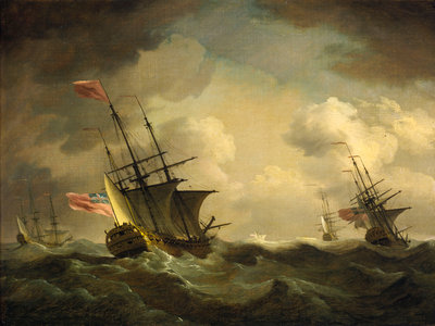 An English squadron going to windward by Charles Brooking - print