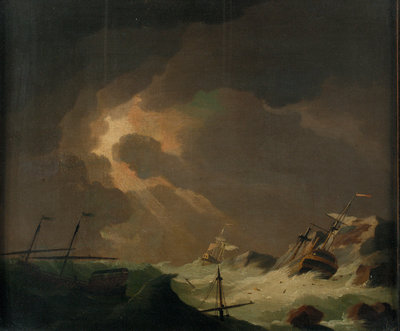 A galley with other vessels wrecked on a rocky coast by Charles Brooking - print