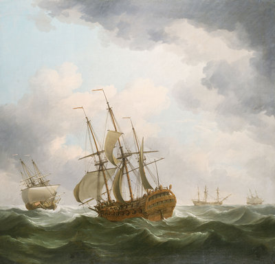 East Indiamen in a gale by Charles Brooking - print