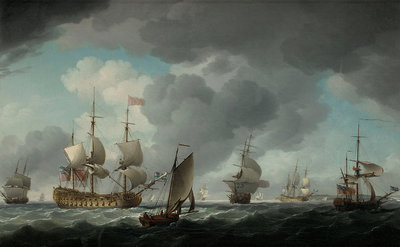 An English vice-admiral of the Red and his squadron at sea by Charles Brooking - print